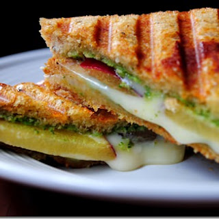 Pesto, Plum and Fontina Panini.