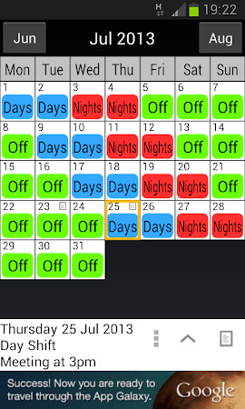 Shift work calendar 1 apk free productivity for 3 on 3 off shift pattern template