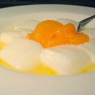 Almond Gelatin with Mandarin Oranges.