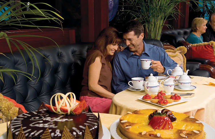 Travel on Oceania Regatta and enjoy a relaxing, intimate afternoon tea steps away from panoramic views.