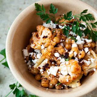 Roasted Cauliflower, Chickpeas And Harissa