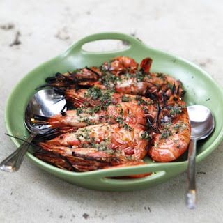 Grilled Spot Prawns with Finger Lime and Basil.
