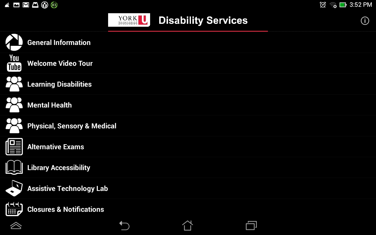 York U Disability Services- screenshot