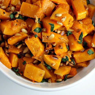 Roasted Butternut Squash with Garlic, Sage and Pine Nuts.