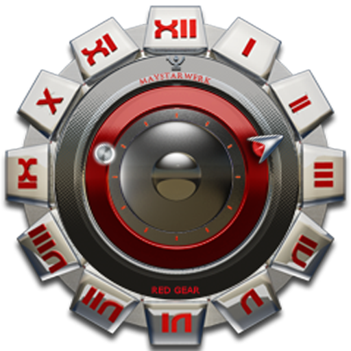 Clock Widget Red Gear