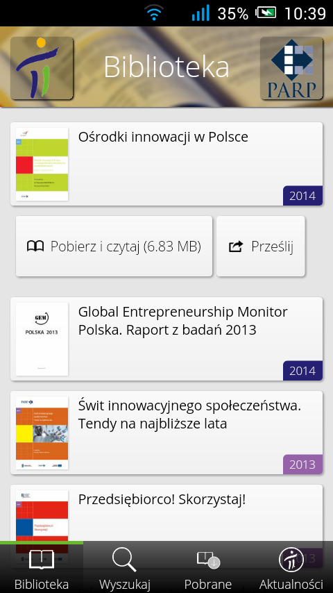 Biblioteka PI- screenshot
