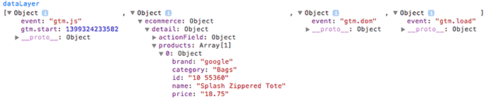 Screenshot of the dataLayer object inspected with Google Chrome Console.