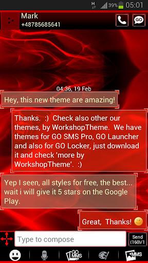 GO SMS Pro Theme Firのテーマ火災炎をGO