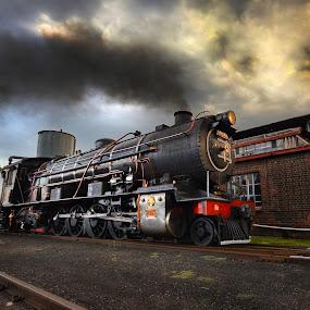 Storm Ride by Rob Vandongen - Transportation Trains ( steam train rail yard locomotive,  )