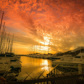 by Randall Langenhoven - Landscapes Sunsets & Sunrises ( southafrica, red, warm, westcaost, sunset, south africa, marina, westerncape, yachts )