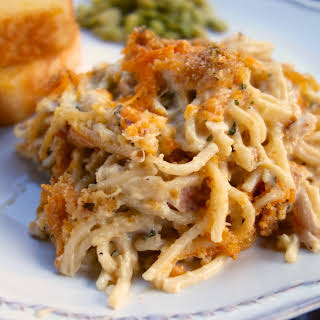 Cheesy Chicken Spaghetti Casserole.