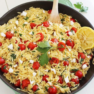 One-Pan Greek Orzo with Tomatoes and Feta.