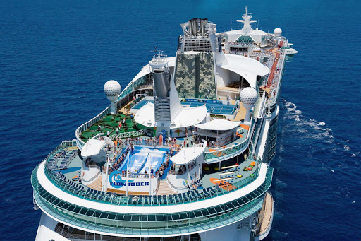 Liberty-of-the-Seas-top-deck - Liberty of the Seas' sports area offers lots of fun in the sun, including time on the FlowRider surf simulator, rock climbing wall, mini-golf course and sports court.