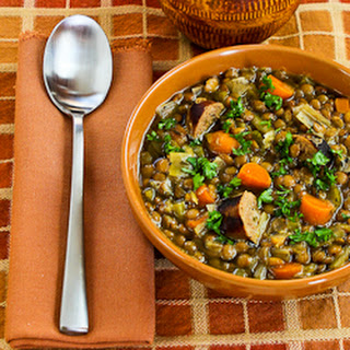 Slow Cooker Lentil Soup with Turkey Bratwurst, Leeks, and Sherry Vinegar.
