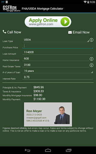 FHA USDA Mortgage Calculator