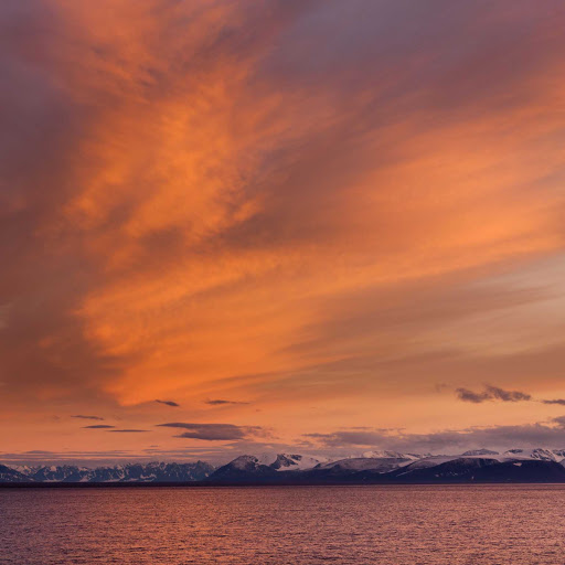 Svalbard-Fram-sunset - You'll catch some spectacular sunsets from the deck of the Hurtigruten cruise ship Fram during your sailing to Norway's Svalbard.