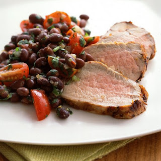 Chipotle-Marinated Pork Tenderloin with Black Bean Salsa.