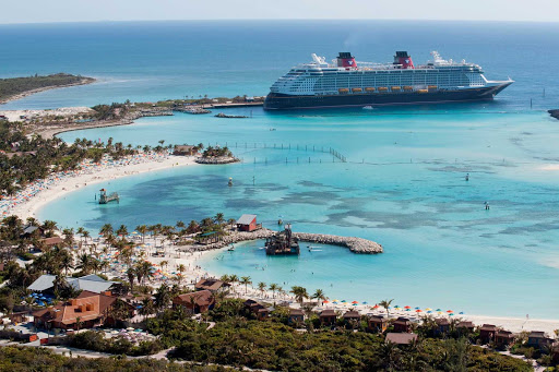 Disney-Dream-Castaway-Cay - Disney Dream at Castaway Cay (pronounced key), Disney's private island in the Bahamas. Enjoy tropical leisure activities, such as snorkeling, parasailing, boating, swimming or just flopping on the golden sands with a beach chair.