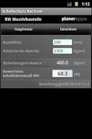 Screenshot of Schallschutzrechner
