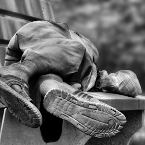 exhausted feet by Kallol Bhattacharjee - Black & White Street & Candid (  )