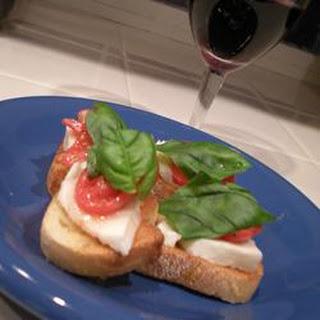 Crostini with Mozzarella and Tomato.