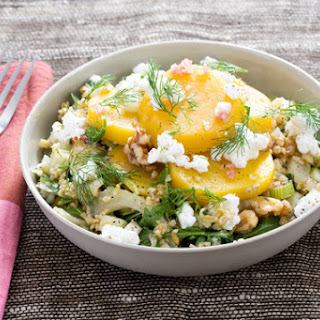 Warm Golden Beet & Freekeh Salad with Walnuts, Apples & Goat Cheese