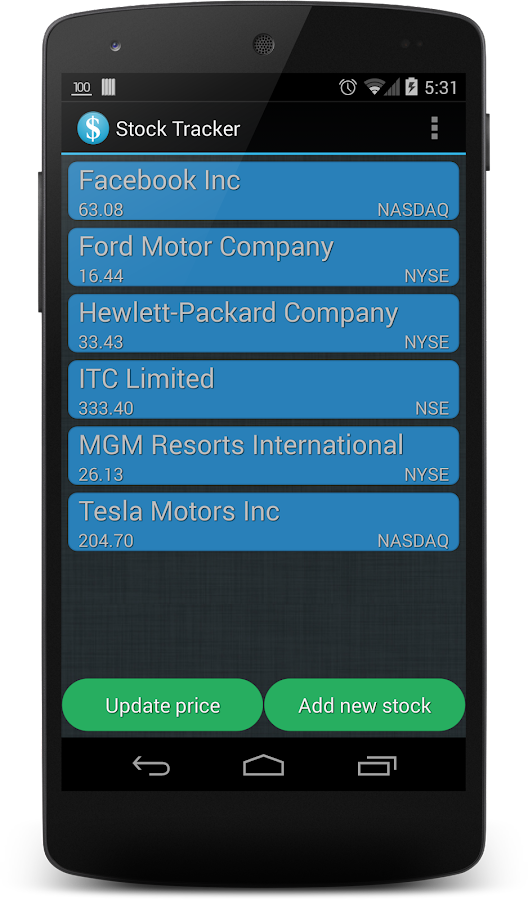 Stock Tracker - screenshot