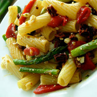 Pasta with Asparagus, Roasted Red Peppers, and Sun-Dried Tomatoes.