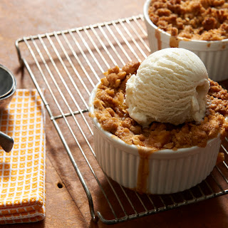 Peach Crisp with Gluten Free Breyers® Vanilla Ice Cream.