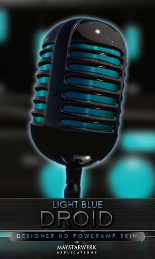 Poweramp skin light blue droid