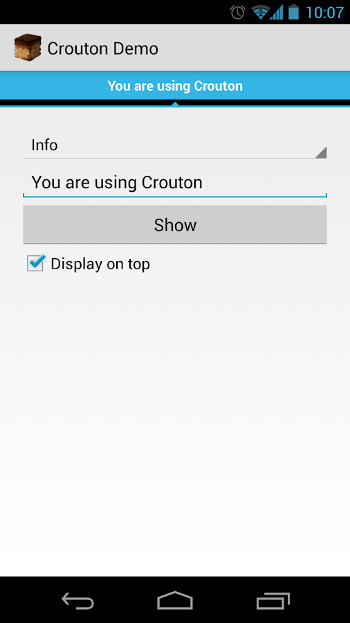 Crouton Demo Application- screenshot
