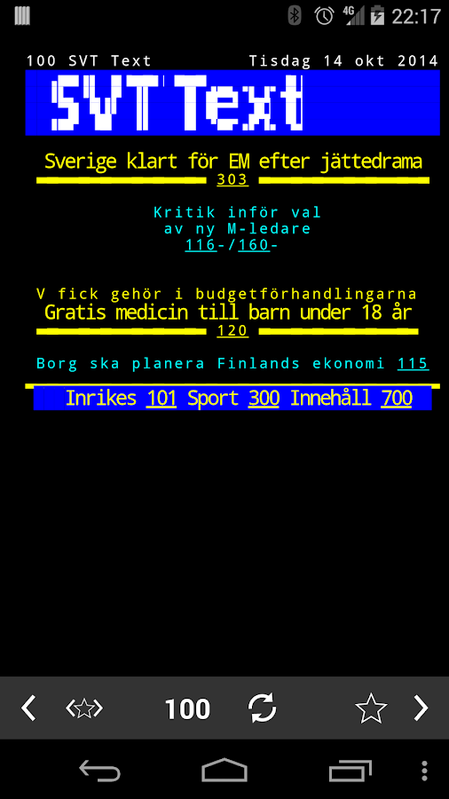 TextTV - screenshot