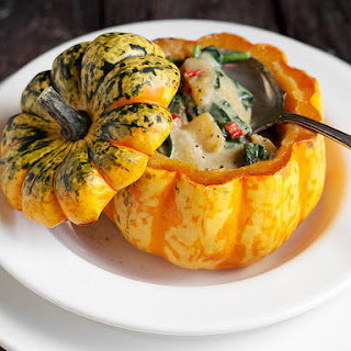 Roasted Squash with Thai Curry Vegetable Filling.