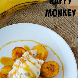 Fried Plantains with Caramel Ice Cream.