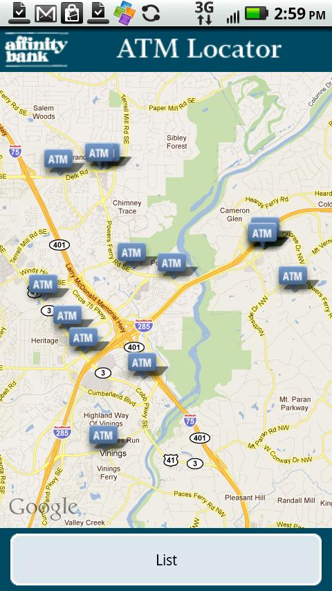 Affinity Bank ATM Locator- screenshot