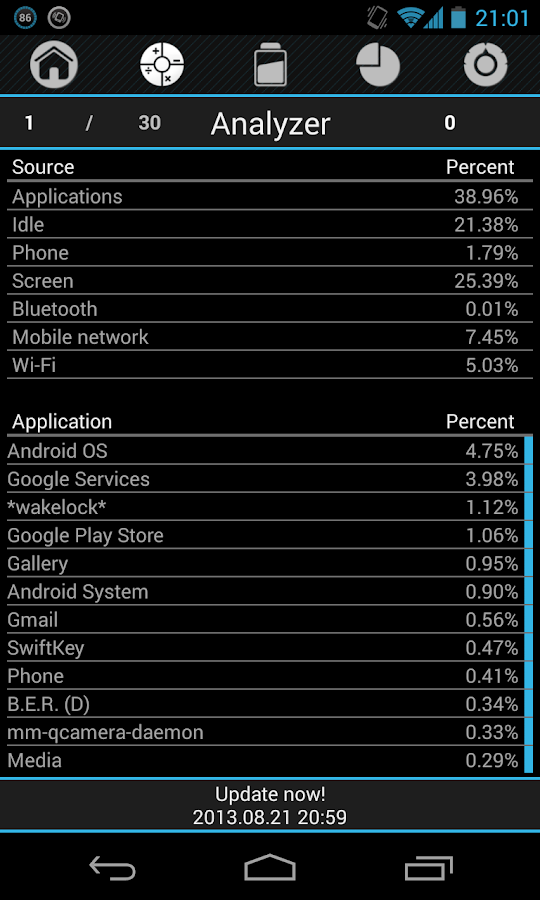 Battery Drain Analyzer - screenshot