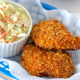 Oven-Fried Chicken with Homemade Coleslaw.