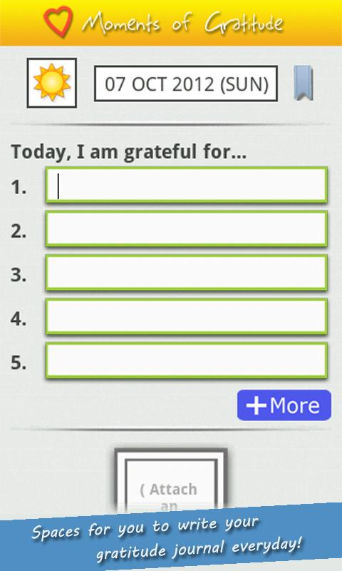 'Moments of Gratitude' Journal - screenshot