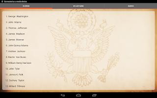 Screenshot of U.S. Presidents