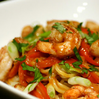 Peanut Curry Noodles with Seared Shrimp & Scallops.