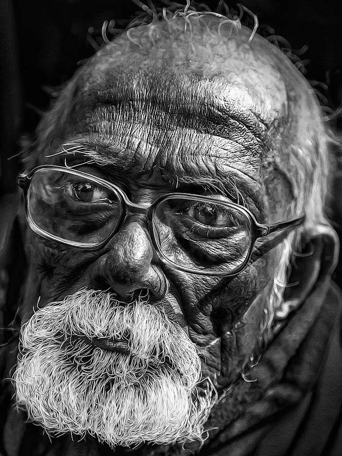 Old Man by Rajkumar Bose - Black & White Portraits & People ( monocrome, old, kolkata, canon 5d mark iii, india, man,  )