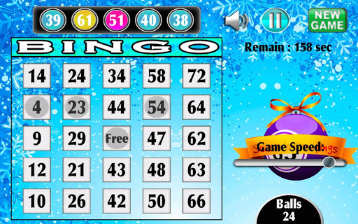 Christmas Bingo Snow Free Game