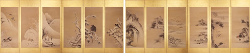Folding Screen with Design of Bird in the Snow