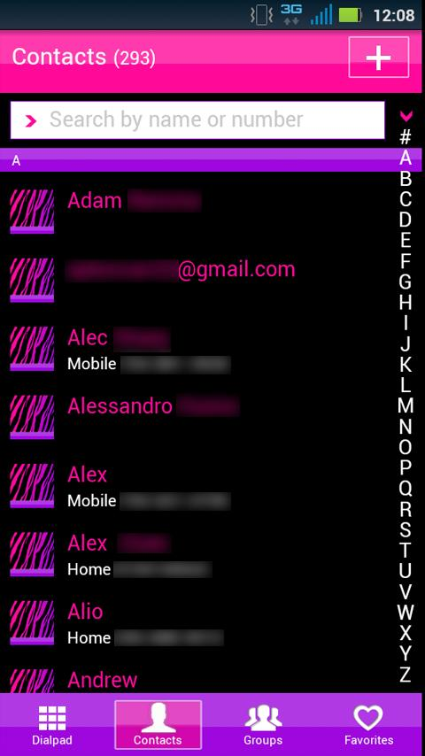 GO Contacts Girly Zebra Theme - screenshot
