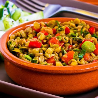 Lentil Salad with Green Olives, Red Bell Pepper, Green Onion, and Greek Oregano.