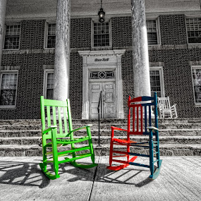 Colorful Chairs by RomanDA Photography - City,  Street & Park  Street Scenes ( university, chairs, color, college, pfeiffer, spring, , Chair, Chairs, Sitting )