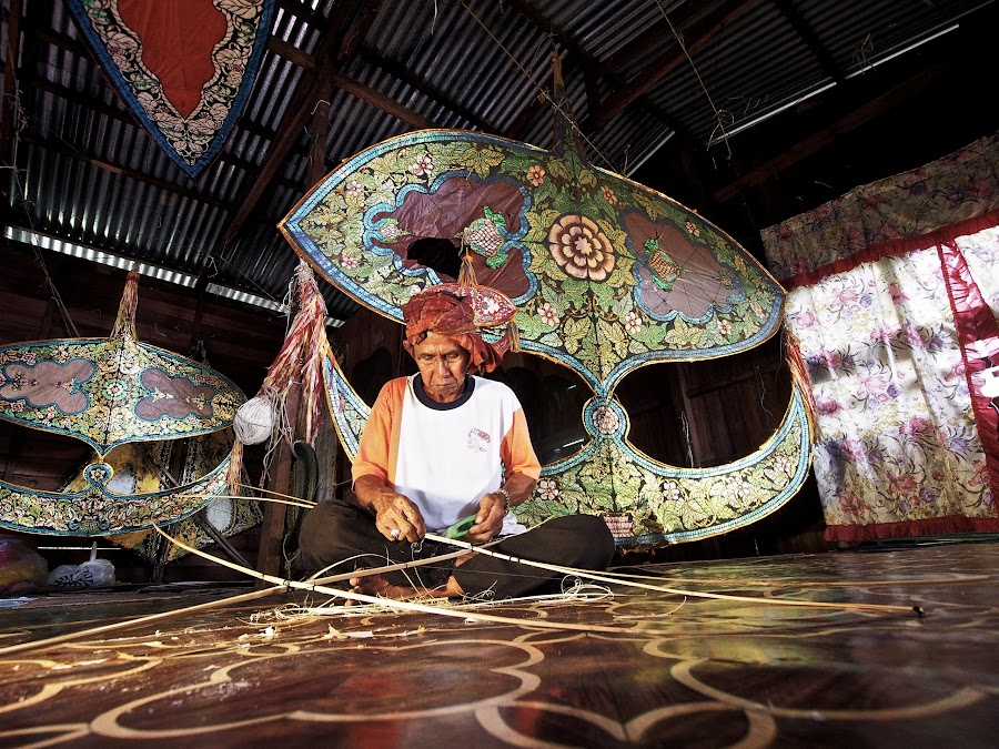 Traditional Kite Maker by Jinny Tan - People Portraits of Men ( malaysian, person, handicraft, tradition, kite, malaysia, people, wau, portrait )