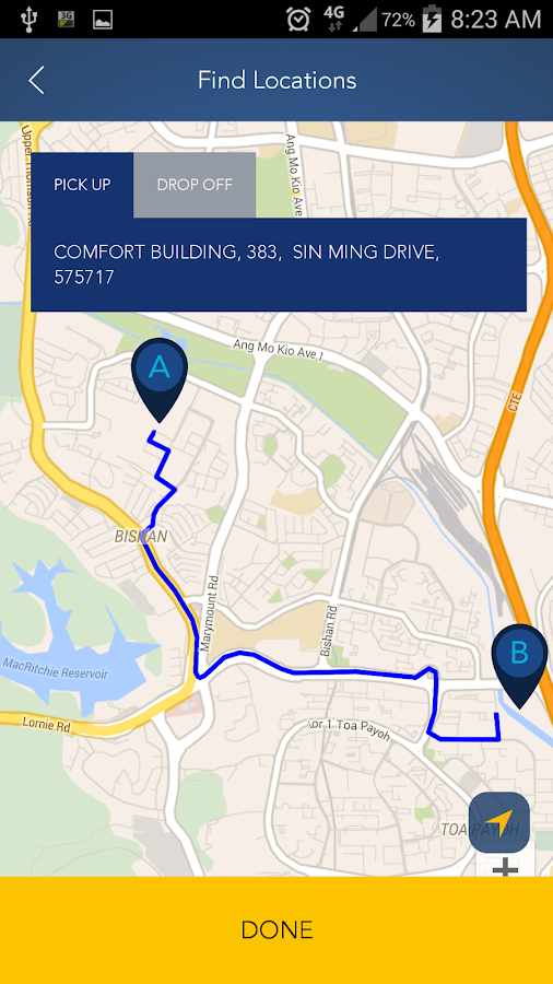 ComfortDelGro Taxi Booking App- screenshot