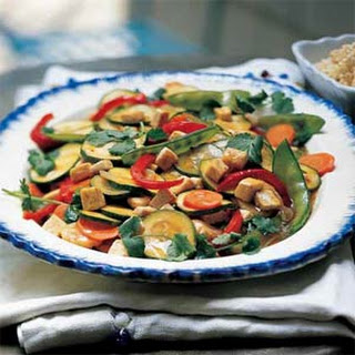 Garden Vegetable Stir-fry with Tofu and Brown Rice.