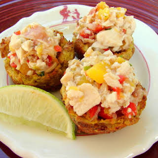Mofongo Cups with Chicken Mango Salad.
